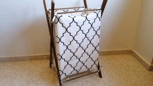 Корзина для белья из реек и ткани пригодится в каждом доме
