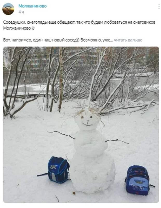 Фото дня: снеговик идет в школу