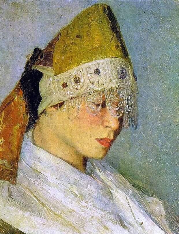 М.Нестеров Девушка в кокошнике. Портрет М.Нестеровой 1885