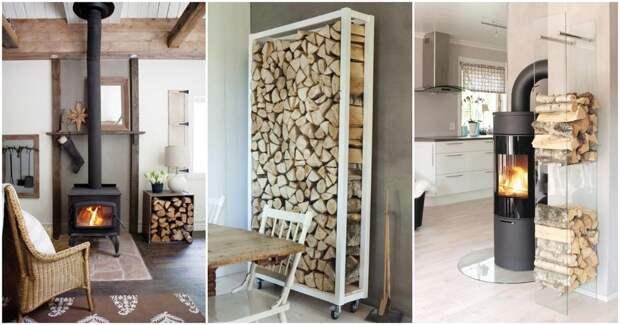 Удобно, функционально и красиво: как организовать хранение дров в доме и на участке