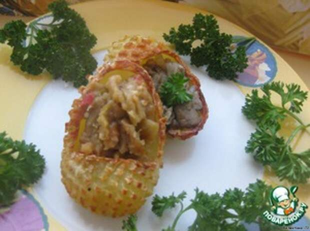 Лапти из картофеля с грибами и баклажанами Баклажан
