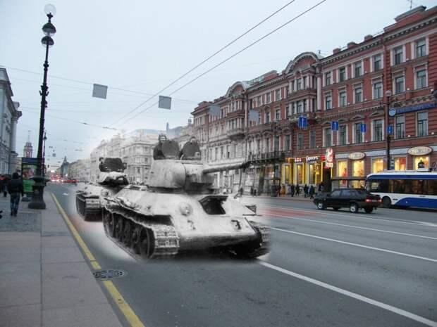 Ленинград 1943-2009 Невский проспект. Танки Т-34-76 образца 1942 и 1940 годов блокада, ленинград, победа