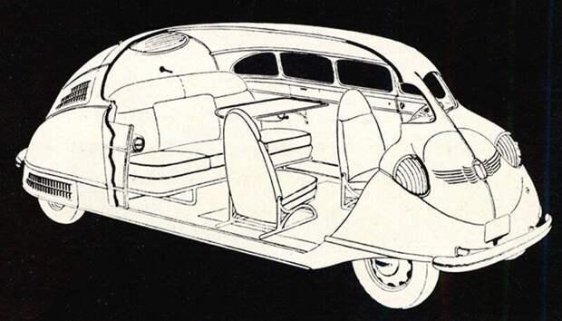 Эскизная схема компоновки «Скарабея» с широко разнесенными осями и пятиместным салоном авто, автомобили, атодизайн, дизайн, интересный автомобили, олдтаймер, ретро авто, фургон