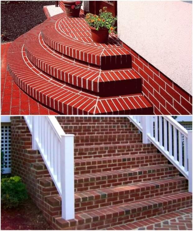 Крыльцо из кирпича – надежное решение для оформления дома.   Фото: obustroeno.com.