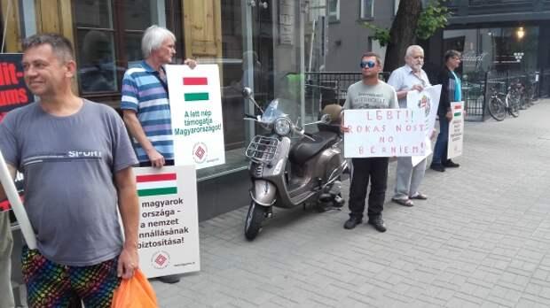 Балтийский прайд: в Риге прошел пикет у посольства Венгрии