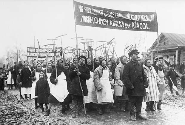Демонстрация колхозников против кулаков, май 1931 года