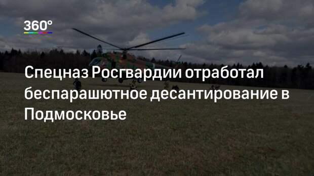 Спецназ Росгвардии отработал беспарашютное десантирование в Подмосковье