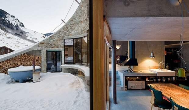 Villa Vals. Интерьер в минималистичном стиле.