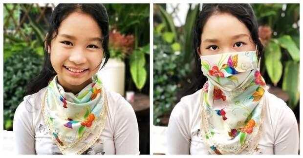 Защитите себя красиво! Интересная модель шейного платка, в котором «прячется» маска