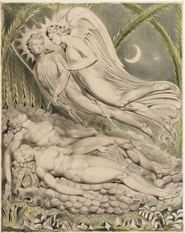 Уильям Блейк. Адам, Ева и ангелы