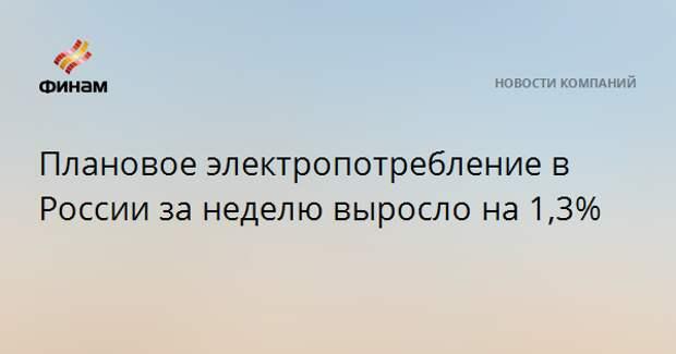 Плановое электропотребление в России за неделю выросло на 1,3%