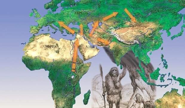 Направления миграций древнего человека. Часть идет через Азию в Сибирь