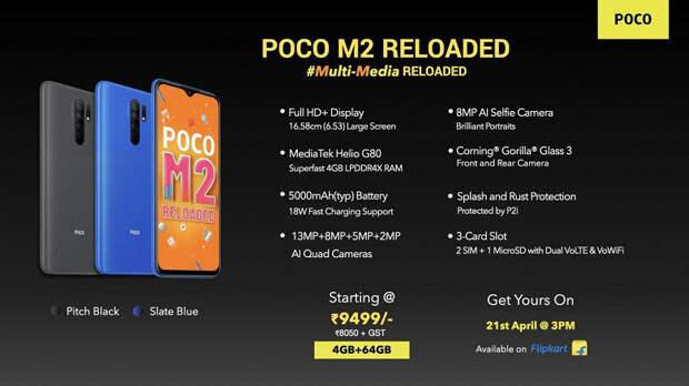 5000 мА·ч, экран Full HD, квадрокамера и защита от брызг воды за 10000 рублей. Представлен Poco M2 Reloaded