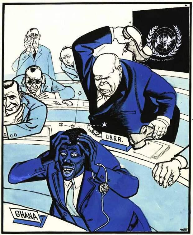 Советский лидер Никита Хрущев стучит ботинком по столу во время заседания 15-й ассамблеи ООН в целях срыва обсуждения венгерского вопроса