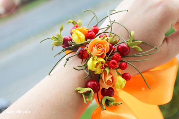 Бижутерия браслет с ягодами из полимерной глины