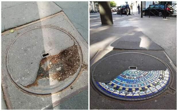 Дорожный хирург из Лиона: уличный художник латает выбоины мозаикой