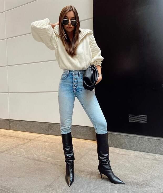 Белый свитер — хит осени 2020. 5 модных образов для вдохновения
