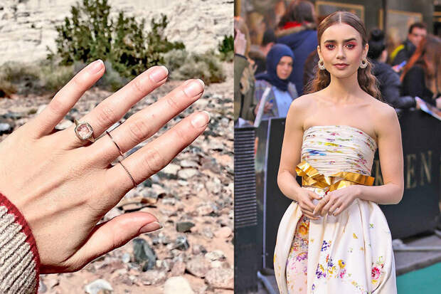 Лили Коллинз обручальное кольцо