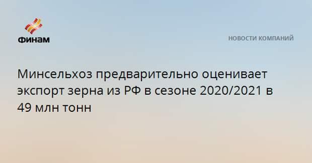Минсельхоз предварительно оценивает экспорт зерна из РФ в сезоне 2020/2021 в 49 млн тонн