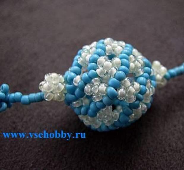Бусина шарик фуреллен с завитками из бисера своими руками