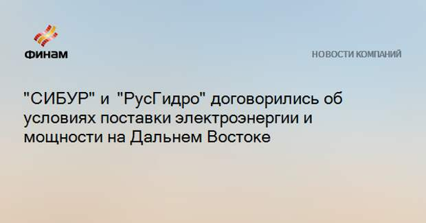 """""""СИБУР""""и """"РусГидро""""договорились об условиях поставки электроэнергии и мощности на Дальнем Востоке"""