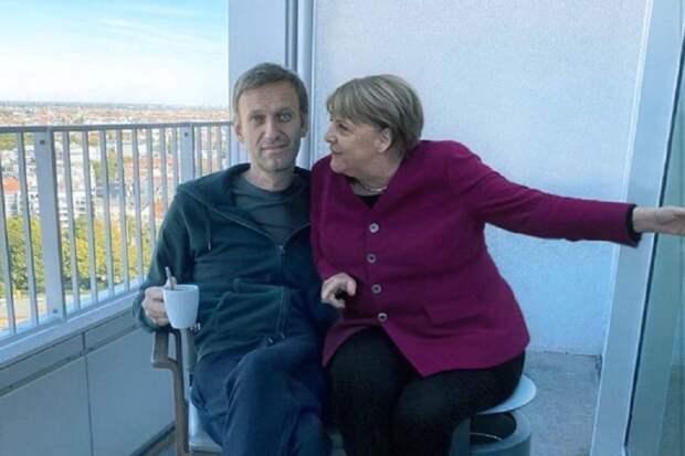 А может быть Меркель пришла к Навальному успокоить пацана