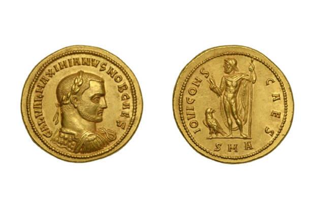Золотой медальон Галерия, 293-295 гг. н. э. \ Фото: google.com.