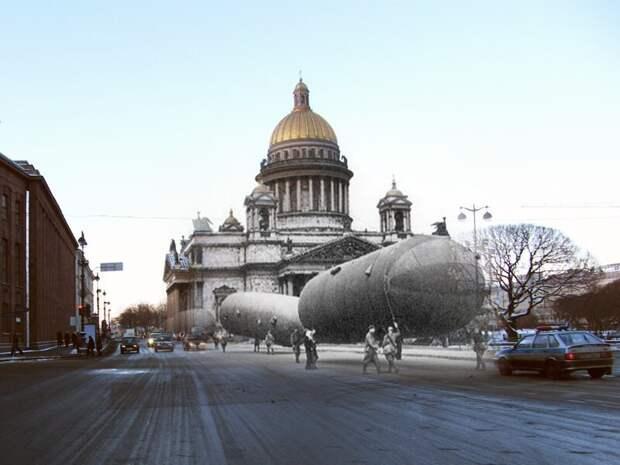 Ленинград 1941-2009 Исаакиеаская площадь. Транспортировка газгольдеров для аэростатов блокада, ленинград, победа