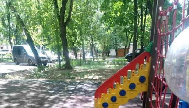 Во дворе на Менжинского покрасили детскую площадку