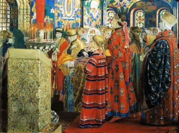 Андрей Рябушкин, Русские женщины в церкви, 1899 год