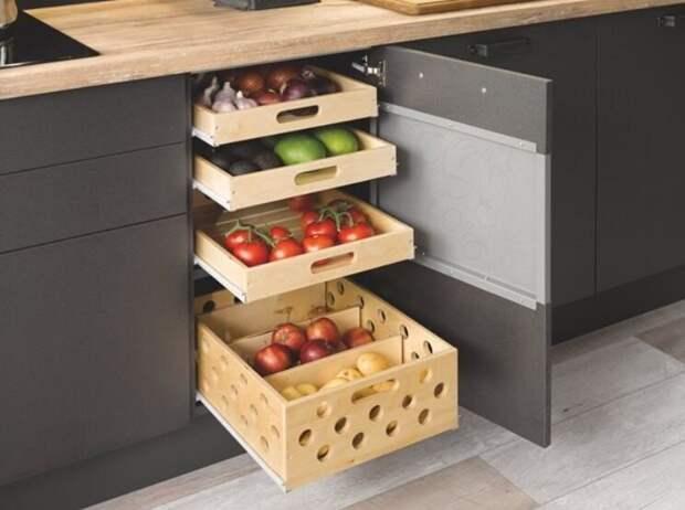 Где хранить фрукты и овощи в маленькой кухне.