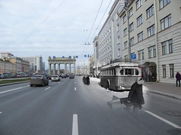 Ленинград 1942-2009 Московский проспект. Замерзший троллейбус блокада, ленинград, победа