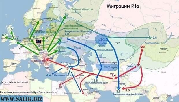 Миграция гаплогруппы R1a.
