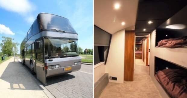 Голландец приобрел старый 2-этажный автобус и превратил его в виллу на колесах