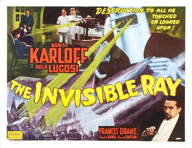 Постер голливудской кинокартины «Невидимый луч», вышедшей в1936 году иповествующей осумасшедшем ученом, который стал светиться отрадиоактивности. Как мы видим, страх радиации стал популярным сюжетом вмассовой культуре задесятки лет достроительства первой АЭС — и, скорее всего, страх этот неистребим.