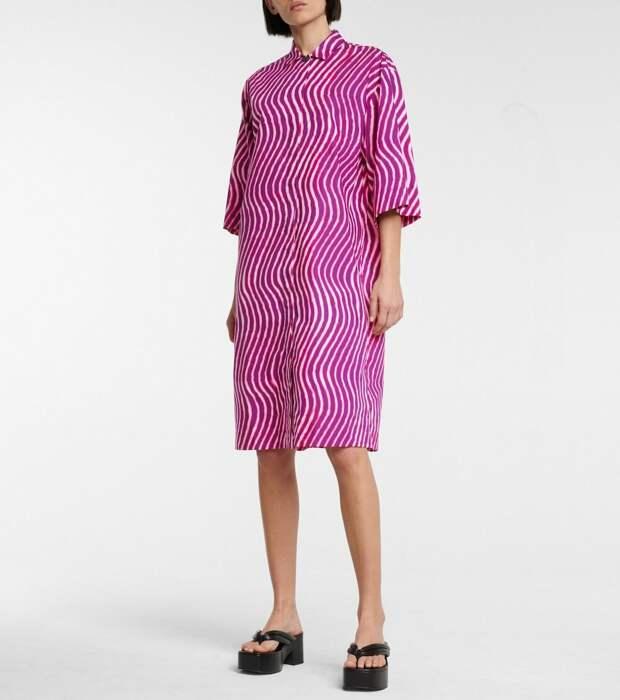 Платье-рубашка из хлопкового поплина с принтом Dries Van Noten