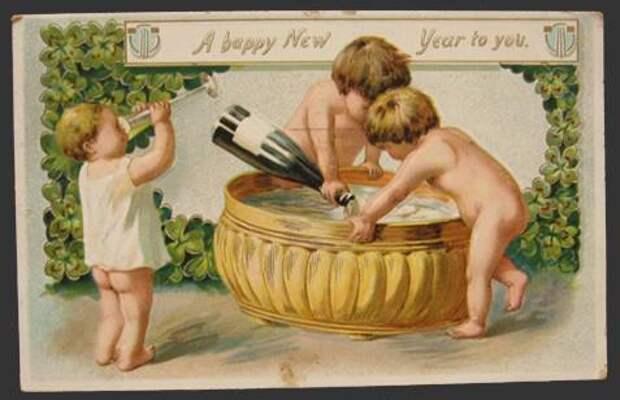 Новый год 100 лет назад (история, ретро открытки)