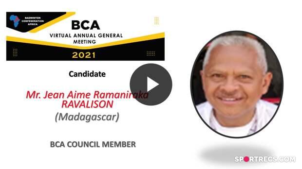 Élections du Conseil de la BCA 2021 - Jean Aime Ramaniraka RAVALISON (MAD) - Membre du Conseil