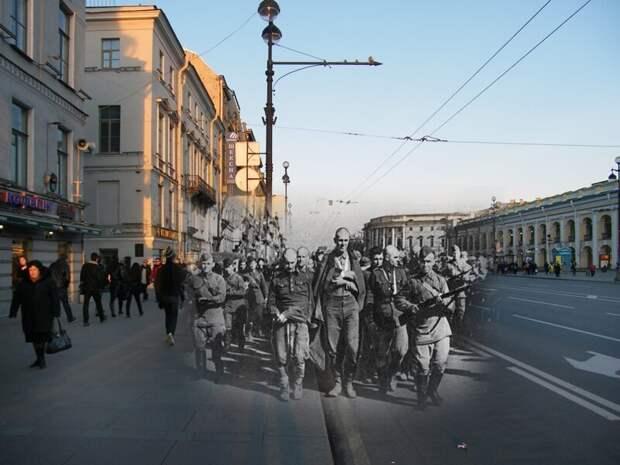 Ленинград 1942-2009 Невский проспект 42. Пленные гитлеровцы на улицах осажденного города в первое блокадное лето блокада, ленинград, победа