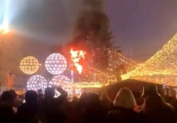 В Киеве при открытии загорелась главная елка страны
