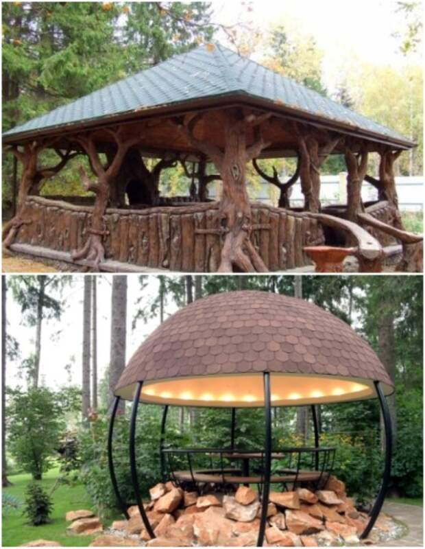 Использование натурального дерева или ротонда станет лучшим вариантом для небольшой уютной беседки. | Фото: svoimi-rukamy.com.