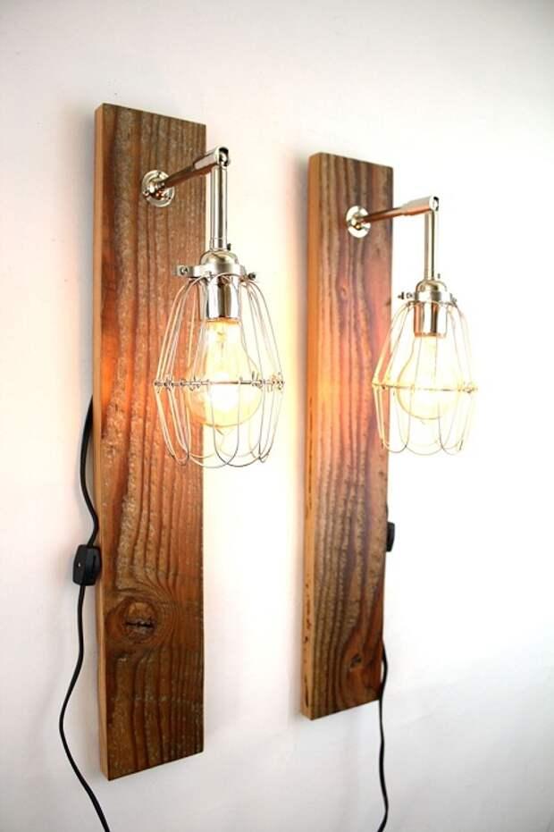 Интересный вариант облагородить интерьер с помощью оригинальных деревянных светильников.