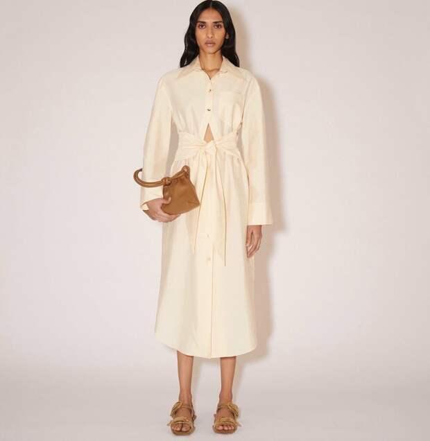 Платье- рубашка из поплина Nanushka Rowan кремового цвета