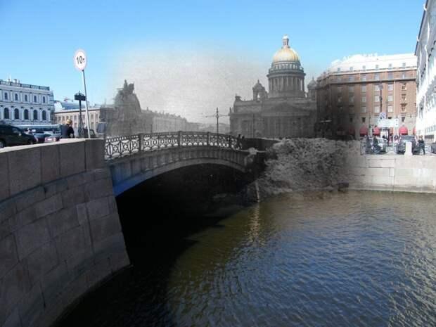 Ленинград 1945-2009 Исаакиевская площадь. Синий мост. блокада, ленинград, победа