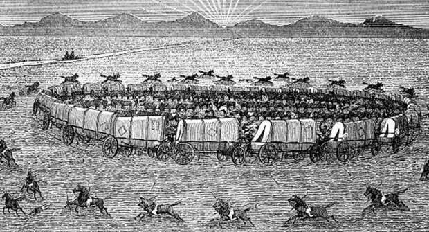 Походный лагерь крымских татар. Старинная гравюра