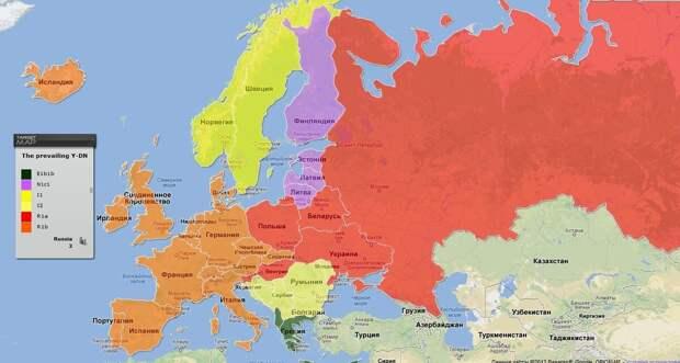 доминирующие гаплогруппы в европе