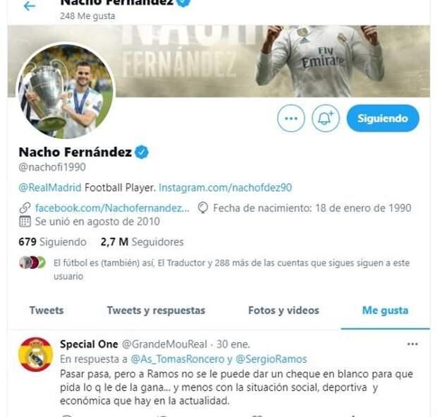 Игрок «Реала» Начо лайкнул твит с критикой в адрес не продлевающего контракт Рамоса