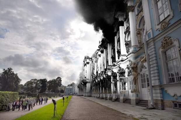 Пушкин 1941-2011 Екатерининский дворец. Пожар блокада, ленинград, победа