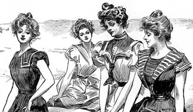 Рисунок с примером «Девушек Гибсона», 1898 год (Wikimedia / Charles Dana Gibson)