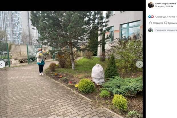 Нянечка из школы на Псковской превратила территорию учебного корпуса в цветущий сад